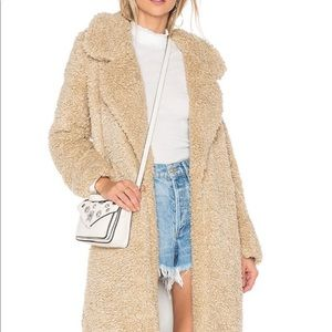 Tularosa Violet long ultra soft shag coat in beige